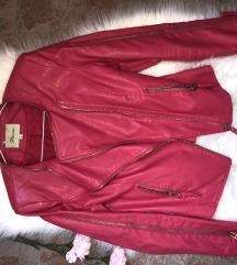 Pink kožna jakna