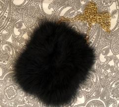 Mala crna torbica od umjetnog perja