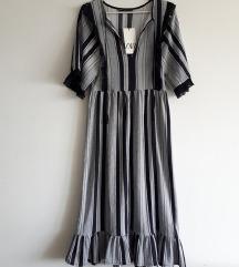 Zara haljina na prugice i volane S-M