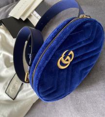 Gucci belt bag velvet plava