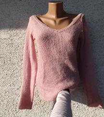 Bebi roza pulover vesta V izrez