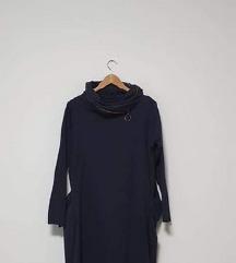 Tamnoplava pamučna tunika s džepovima L-XL