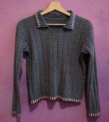 Vintage siva ženska vesta/pulover/džemper