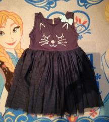 Tamnoplava haljinica s tilom