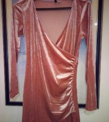 H&M baršunasta mini haljina na preklop M