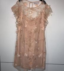 Roza haljina sa tilom i 3d cvjetovima