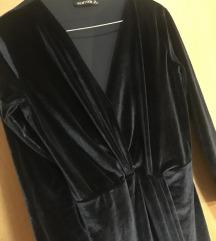Plišana tamnoplava haljina kao nova S/M