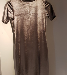 Plišana sivo/brončana haljina