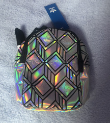 Adidas holografski mini ruksak srebrni
