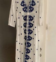 Duga bijela boho haljina s vezom