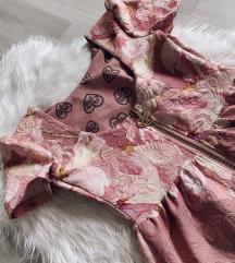 ELFS cvjetna roza haljina, puf rukavi