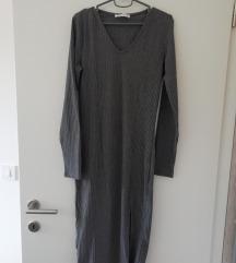 Siva rebrasta midi haljina sa prorezom