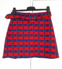 Karirana suknja s remenom