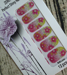 Naljepnice za nokte - šljokičasto cvijeće
