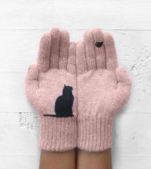 Roza rukavice mačka i ptica NOVO