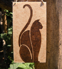 Drvena dekoracija, mačka