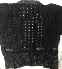 Mesh crop kardigan/prava vuna srebrne niti S