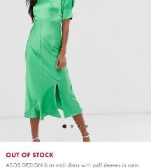 ASOS zelena svilena haljina, M veličina