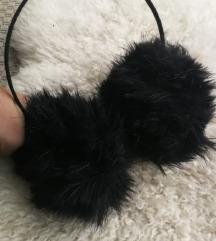 Krznene slušalice za uši rajf crne