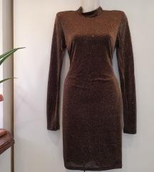 H&M crnozlatna šljokasta haljina otvorenih leđa