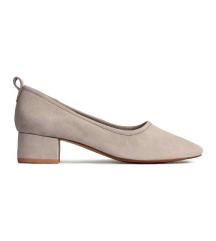 H&m sive kožne sandale na blok petu