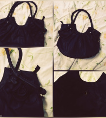 NOVA! Crna torbica sa cvijetom