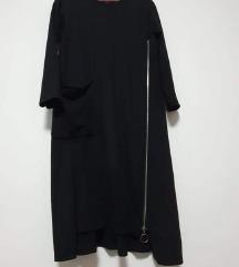 Nova pamučna crna haljina sa zipom L-XL