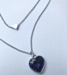POKLANJAM 🎁 NOVA Dvoslojna ogrlica sa srcem 💜
