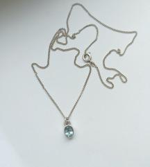 Lančić akvamarin, srebro