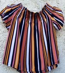 Prugasta off sholder bluza