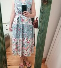 Cvjetna lagana midi haljina L