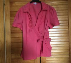 Roza pamucna bluza na preklop