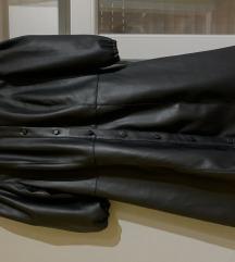 H&M kožna haljina s balon rukavima