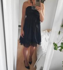 NOVA Crna svečana haljina s perlicama