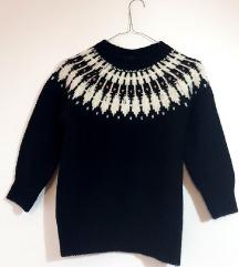 Zara ženski crni pulover s uzorkom