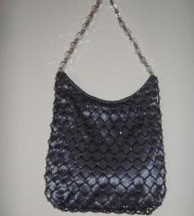 Večernja satenska torbica s perlicama NOVO