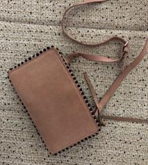 ZARA nude/roza torbica od brušene kože
