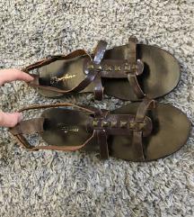 PepeJeans smeđe kožne ravne sandale (pt uklj)