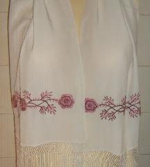 šal pašmina ručni rad sa svilenim resama