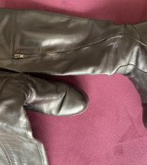 Crne čizme do koljena , prava koža