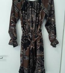 Smeda haljina + GRATIS smeđa torbica