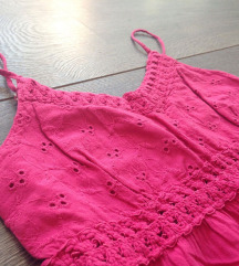Roza crochet majica na bretele