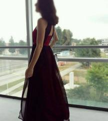 Duga svečana crvena haljina s prorezom, 2 veličine