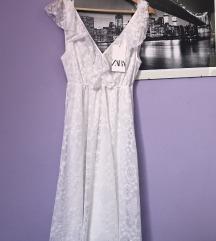 Zara bijela čipkasta boho haljina M 38