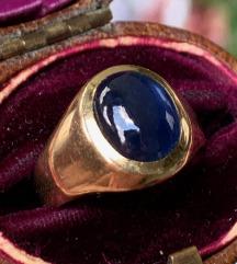 Prsten sa safirom, 18k zlato, manji broj