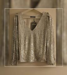 Šljokičasta srebrna bluza