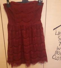 Pimkie bordo crvena čipkasta haljina