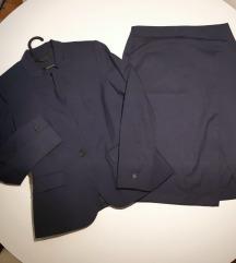 Ženski kostim tamnoplavi s midi suknjom Zara, NOVO