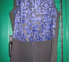 Crna bluza s plavim cvjetnim uzorkom