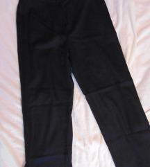 Crne ženske široke vunene hlače